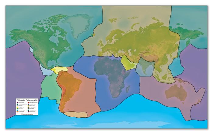 Folie mit Tektonischen Platten für den Weltkartenteppich
