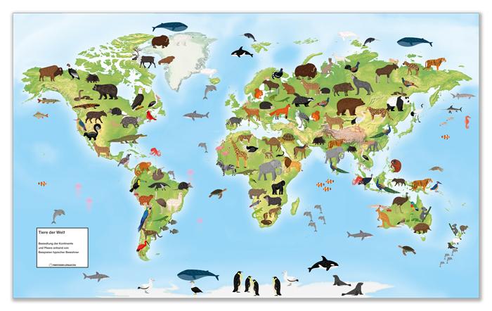 Tiere für den Weltkartenteppich