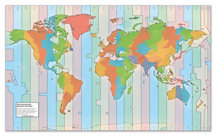 Zeitzonen-Folie für den Weltkartenteppich