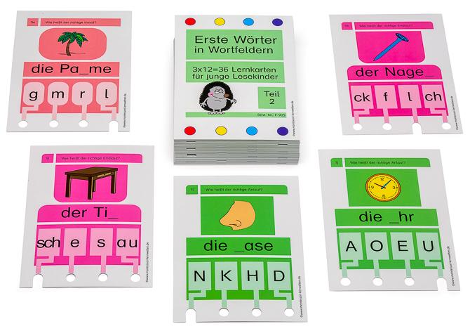 Erste Wörter in Wortfeldern – Stöpselkarten Teil II