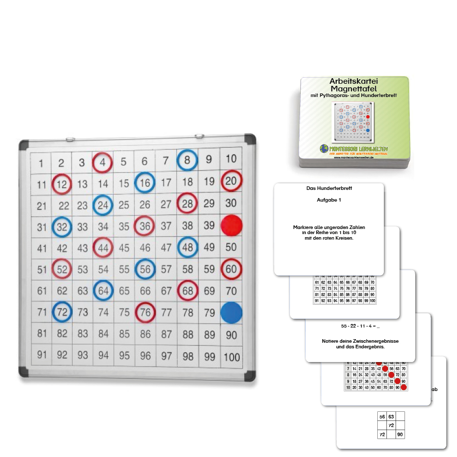 Set Magnettafel und Arbeitskartei zum Pythagoras- und Hunderterbrett