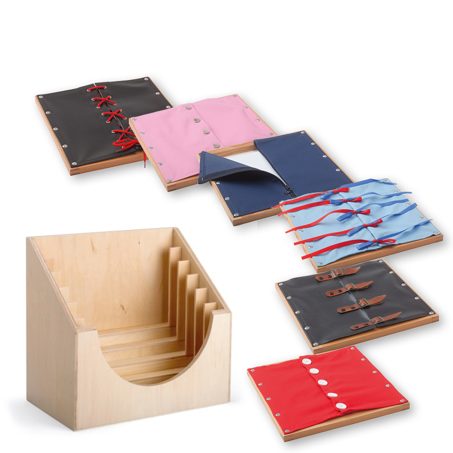 6 Lernrahmen mit Verschlüssen im Holzaufsteller