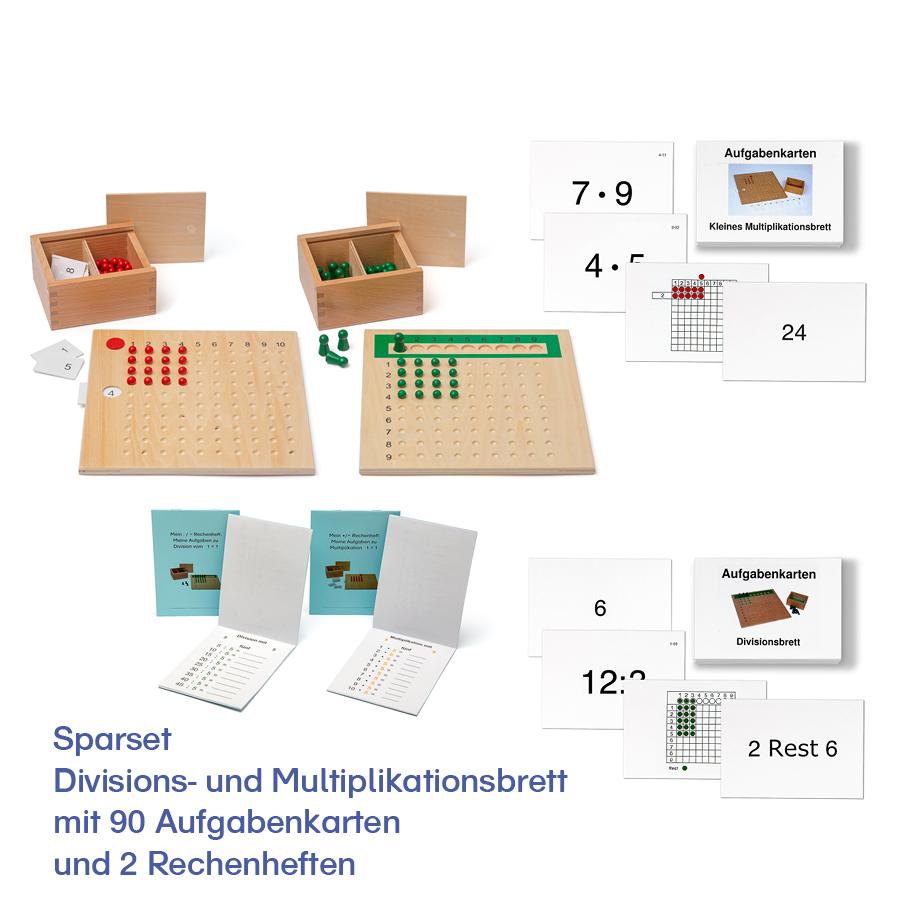 Sparset Divisions- und Multiplikationsbrett mit 90 Aufgabenkarten und 2 Rechenheften