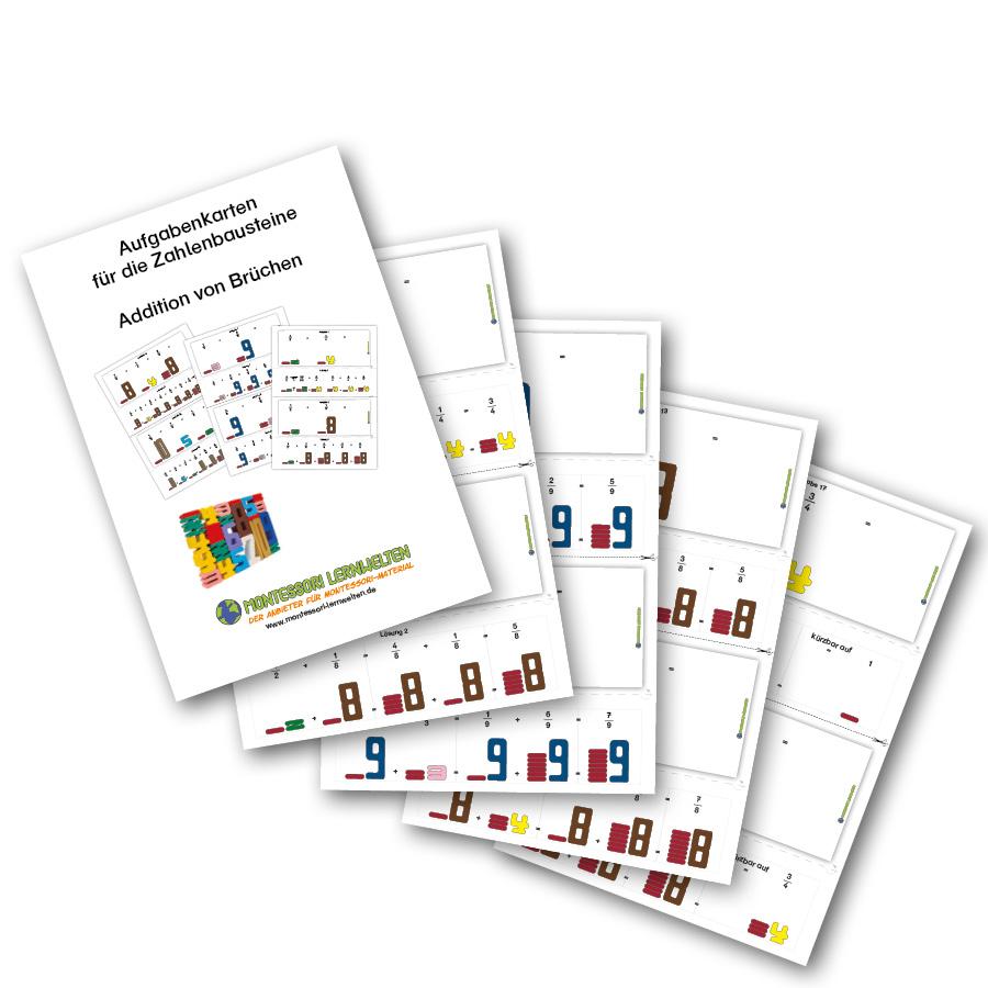Zahlenbausteine Aufgabenkarten Addition Brüche