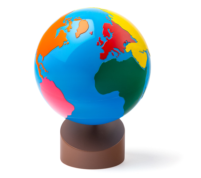 Montessori Globus - Erdteile / Kontinente