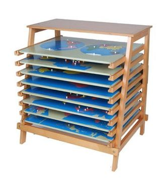 8 Montessori Puzzlekarten mit Regal