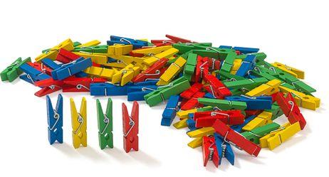100 farbige Miniklammern aus Holz
