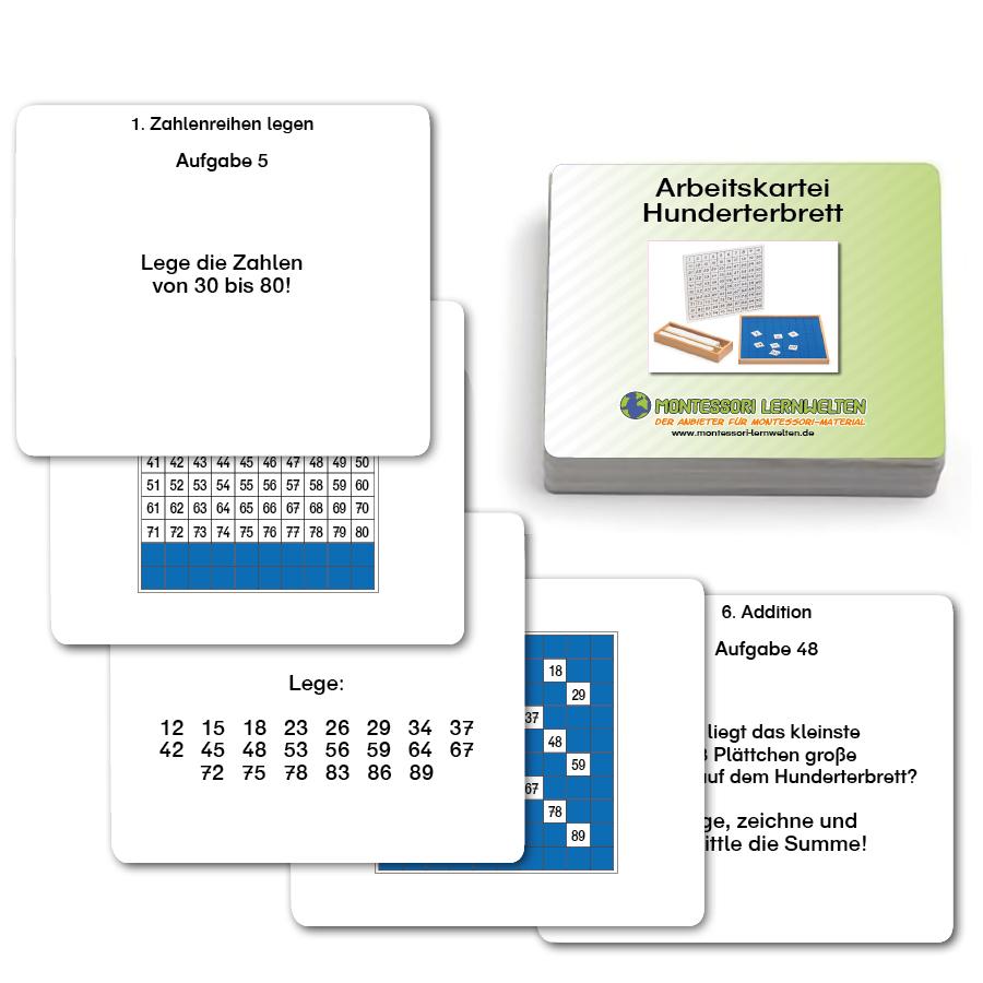 Aufgabenkarten für das Hunderterbrett