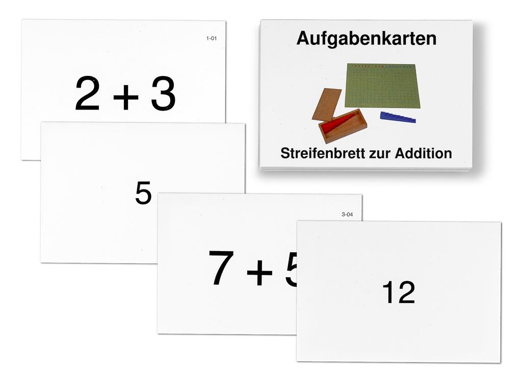 Aufgabenkarten zum Streifenbrett zur Addition