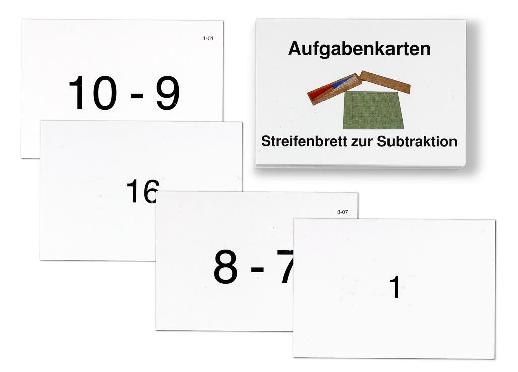 Aufgabenkarten zum Streifenbrett zur Subtraktion