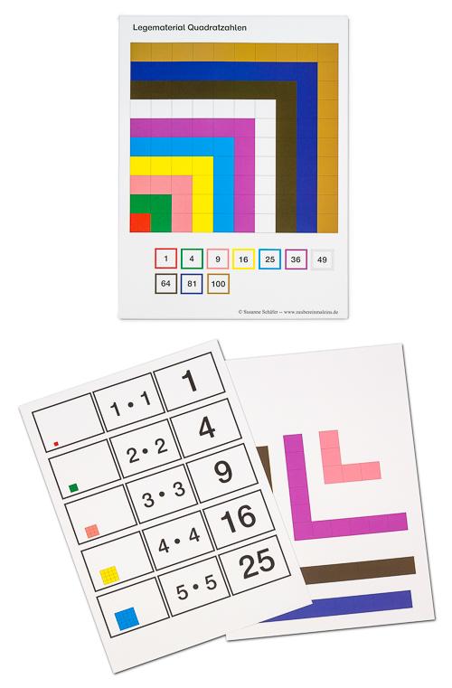 Quadratzahlen Legematerial