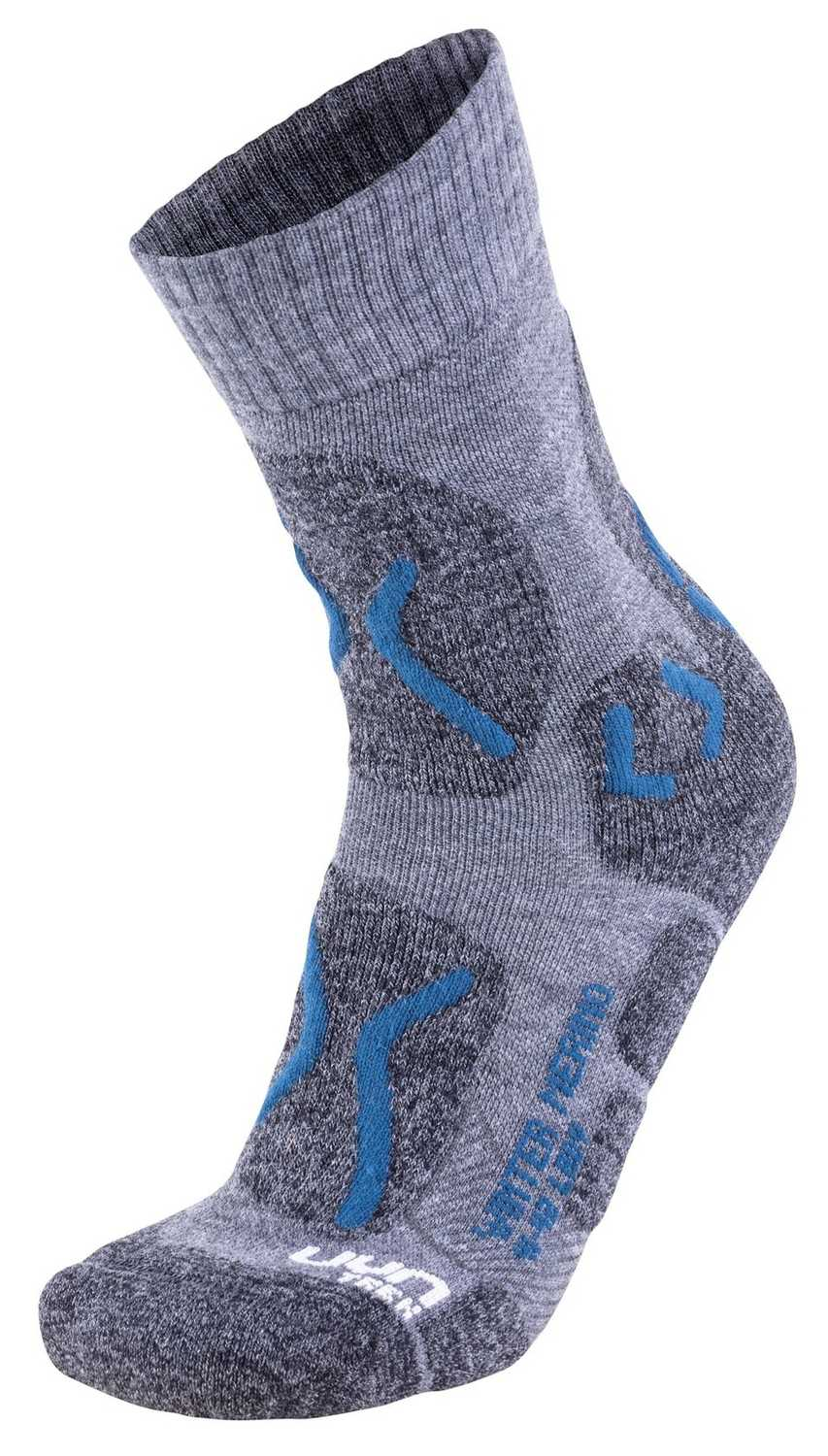 UYN Trekking Winter Merino Lady Grey Melange Petrol Blue Damen Socken