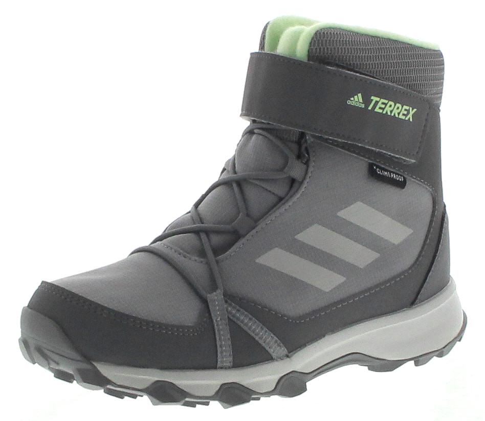 adidas TERREX SNOW CF CP CW K Grey Grey Green wasserabweisender Kinder Winterstiefel