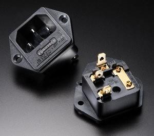 Furutech FI-03 R Rhodium Einbau Kaltgeräte-Stecker Lötbar mit Sicherungshalter