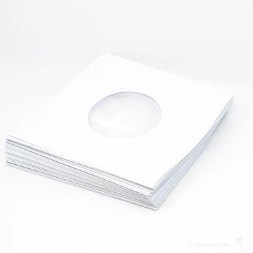 Schallplatten SINGLE Innenhüllen - 50er Pack - Papier-weiß gefüttert