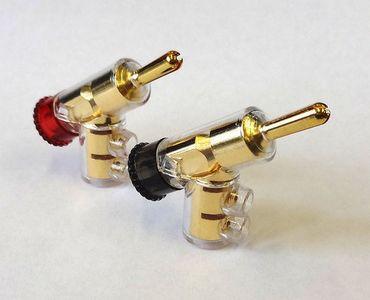 SinnOxx® COLOR Gold Winkel-Bananenstecker Spreizbar - 4mm - Schraubbar – Bild 1
