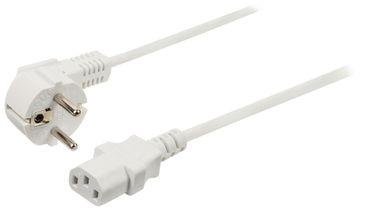 Weisses Standard Netzkabel mit Winkel Schutzkontakt-Stecker auf Kaltgerätekupplung