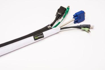 staywired Pro Basic - Weiß - 120cm Kabelschlauch mit Reißverschluss – Bild 1