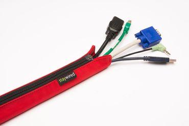 staywired Pro Basic - Rot - 200cm Kabelschlauch mit Reißverschluss – Bild 1