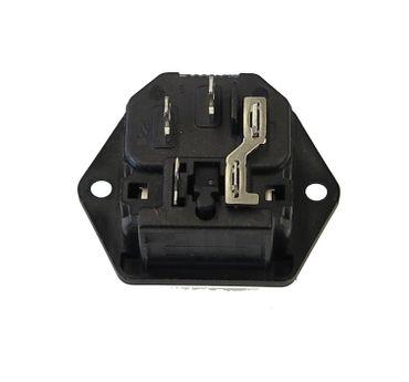 Einbau-Kaltgerätestecker Schwarz - Mit Sicherungshalter – Bild 2
