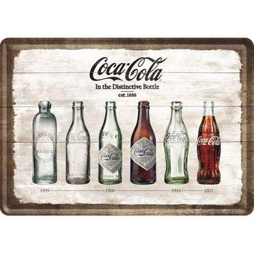 Coca-Cola Bottle Timeline - Blechpostkarte 10x14cm - Nostalgic Art