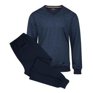 Götzburg V-Neck Pyjama blau fein strukturiert
