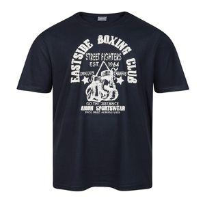 Übergröße Ahorn Retro Druck T-Shirt dunkelblau
