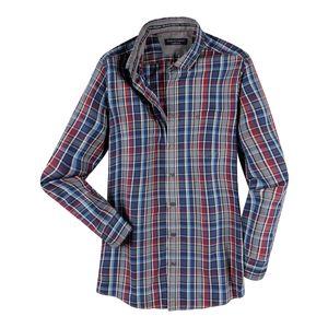CasaModa Übergrößen Karo Langarmhemd grau-blau-rot