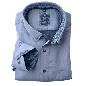 Redmond Langarmhemd Struktur jeansblau XXL