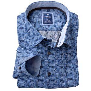 Übergröße Redmond Langarmhemd blaues Allover-Muster
