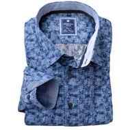 Übergröße Redmond Langarmhemd blaues Allover-Muster 001
