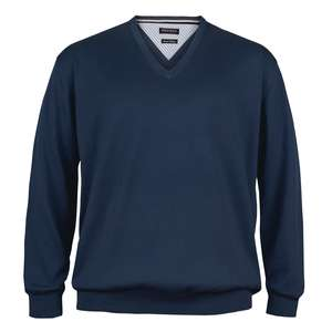 XXL Redfield Feinstrick V-Neck Pullover denimblau