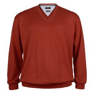 XXL Redfield Feinstrick V-Neck Pullover rostorange