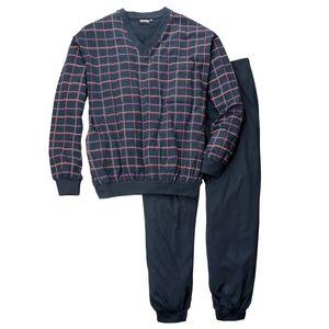 Adamo karierter Pyjama navy V-Ausschnitt Übergröße