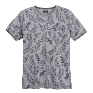Jack & Jones graues T-Shirt Botanik-Print Allover XXL