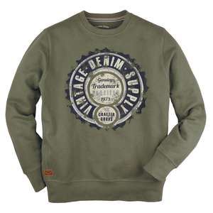 XXL Redfield Sweatshirt Vintageprint oliv