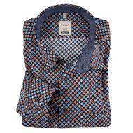 Haupt XXL Langarmhemd dunkelblau Alloverdruck 001