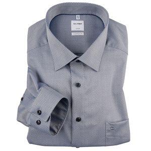 Olymp XXL Langarmhemd Muster marine-silber bügelfrei
