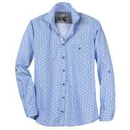 Jupiter Trachtenhemd XXL blau Brezel-Allovermuster 001