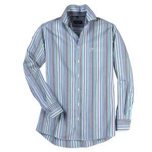 CasaModa Langarmhemd blau-grün-weiß gestreift