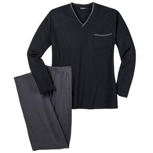 Adamo Schlafanzug schwarz V-Ausschnitt große Größen