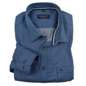 CasaModa blaues Langarmhemd bedruckt XXL