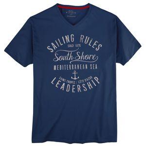 Kitaro modisches V-Neck T-Shirt dunkelblau XXL