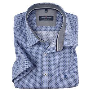 CasaModa Alloverdruck Kurzarmhemd blau-weiß XXL