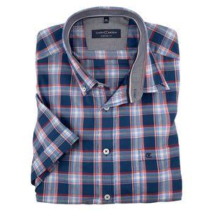 CasaModa Karo-Kurzarmhemd denimblau-rot-weiß XXL