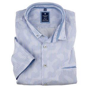 XXL Redmond Kurzarmhemd hellblau-weiß Streifenmuster