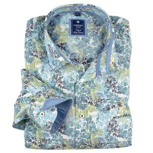 Redmond Langarmhemd Floralmuster blau-petrol-grün XXL