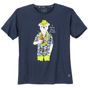 Ragman T-Shirt Hawaii-Print indigoblau XXL