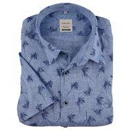XXL Haupt Kurzarmhemd Leinen blau melange Palmendruck 001