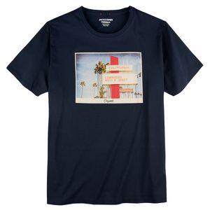 Jack & Jones T-Shirt navy Farbprint Übergröße